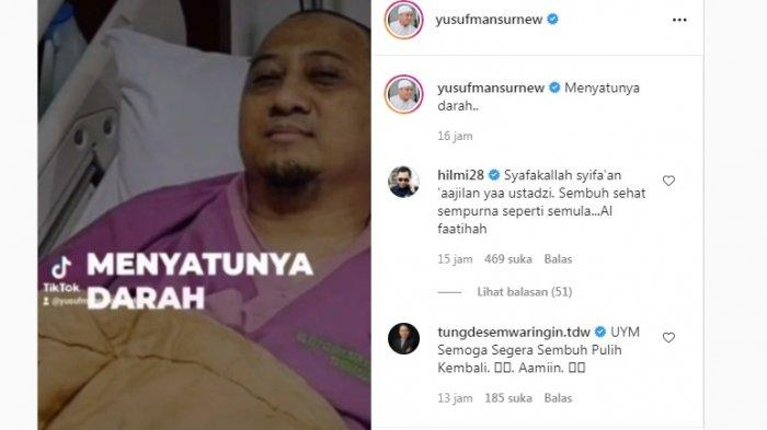 Ustaz Yusuf Mansur harus menjalani perawatan intensif karena hemoglobinnya (HB) rendah.