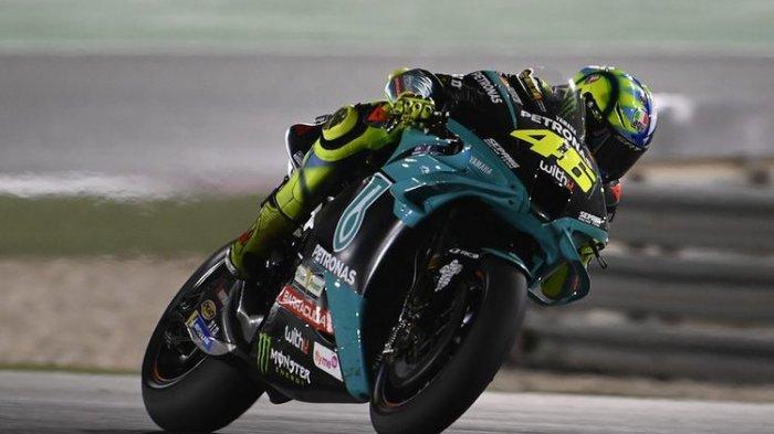 Valentino Rossi saat balapan di seri pertama MotoGP 2021 di Sirkuit Losail, Qatar