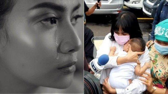 Vanessa Angel menggendong anaknya setelah menjalani sidang di Pengadilan Negeri Jakarta Barat, Kamis (5/11/2020). Vanessa Angel divonis penjara 3 bulan karena terbukti bersalah memiliki dan menguasai psikotronika jenis xanax. (kanan)