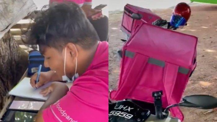 Video pemuda menjalani kuliah online sambil bekerja mengantarkan makanan, menarik perhatian warganet.