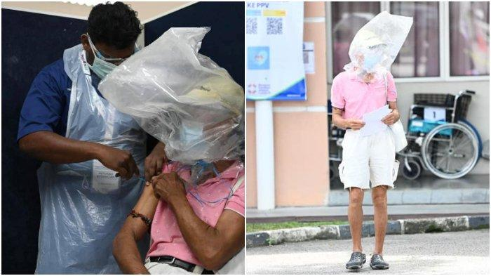 VIRAL Bapak-bapak Vaksinasi Covid-19 Pakai Kantong Plastik di Kepala, Pulang Lakukan Hal Mulia Ini