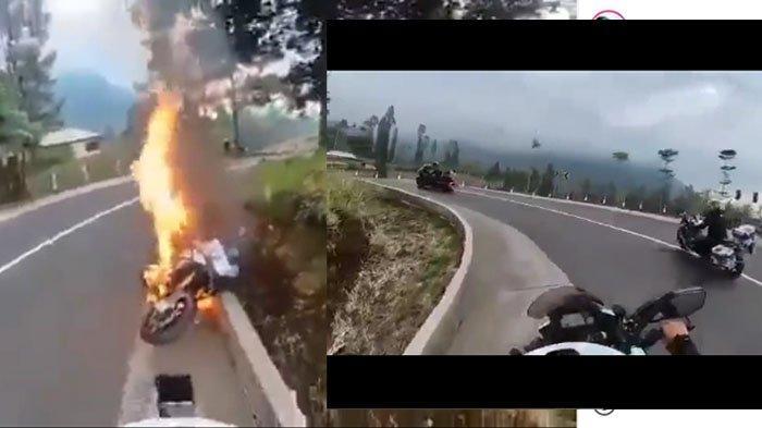 VIRAL Moge Terbakar di Jalur Bromo, Pengendara Selamat dari Kobaran Api, Polisi: Sudah Dievakuasi