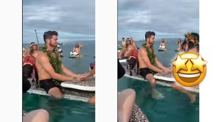 Viral pernikahan di tengah laut