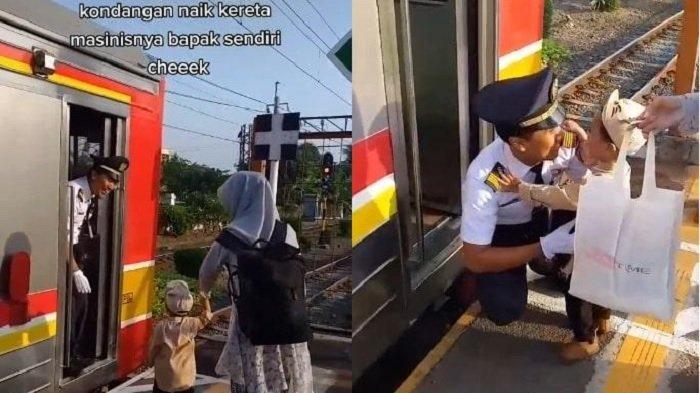 VIRAL Wanita Ini Berangkat Kondangan Pulang Dijemput Pakai Kereta, Ternyata Suaminya Masinis KRL