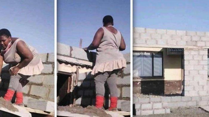 VIRAL Wanita Renovasi Rumah Seorang Diri, Susun Batako dengan Semen & Pasir, Ini Fakta di Baliknya