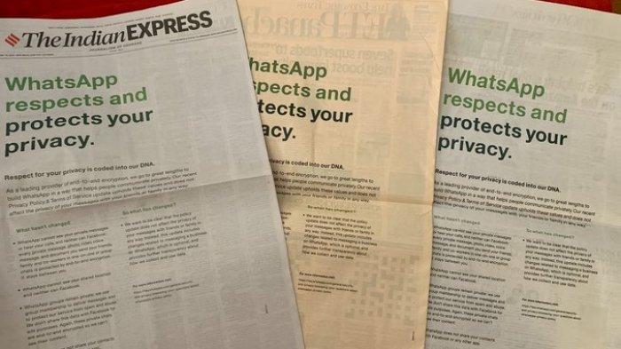 Ditinggal Pengguna Gegara Kebijakan 'Paksa', WhatsApp Habiskan Rp 1,9 M Pasang Iklan Besar di Koran