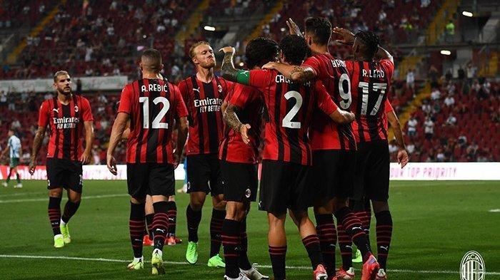 Selebrasi para pemain AC Milan dalam sebuah pertandingan ajang Liga Champions belum lama ini.