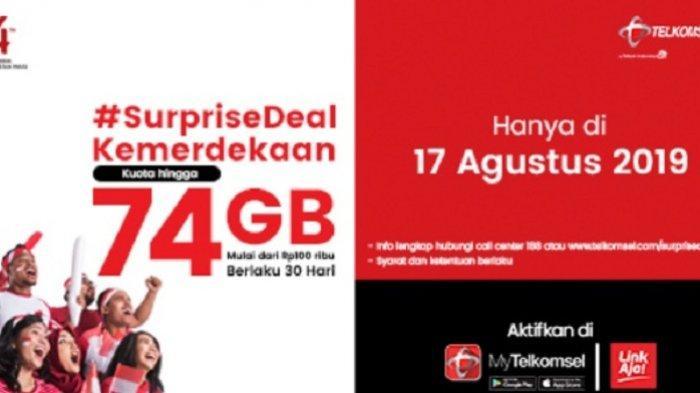KHUSUS HARI INI Telkomsel Promo #SurpriseDeal Kuota 75 GB Harga Mulai Rp 100 Ribu