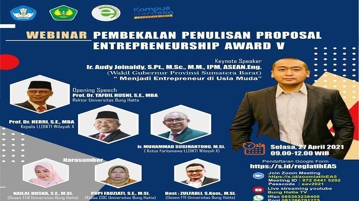 Entrepreneur Award V LLDikti Wilayah X, Universitas Bung Hatta Hadirkan Wagub Jadi Pemateri Webinar