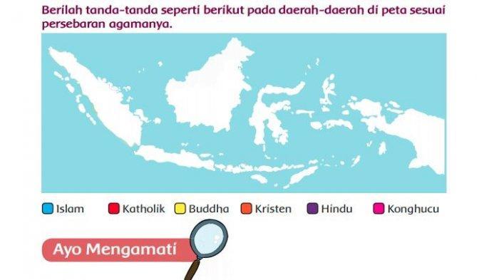Berilah Tanda-tanda pada Daerah-daerah di Peta Sesuai Persebaran Agamanya, Tema 1 Kelas 5 Halaman 80
