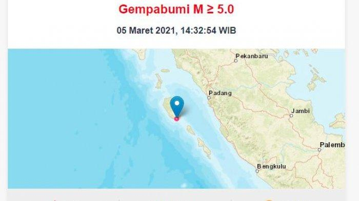 Update Gempa Bumi Tektonik 5,8 Magnitudo di Kepulauan Mentawai, Ini Penjelasan BMKG