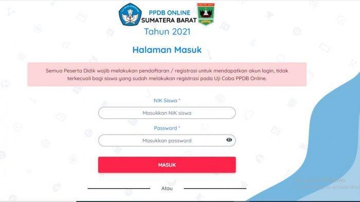Cara Cek Hasil PPDB SMA dan SMK Sumbar 2021 di ppdb.sumbarprov.go.id, Masukkan NIK Siswa & Password