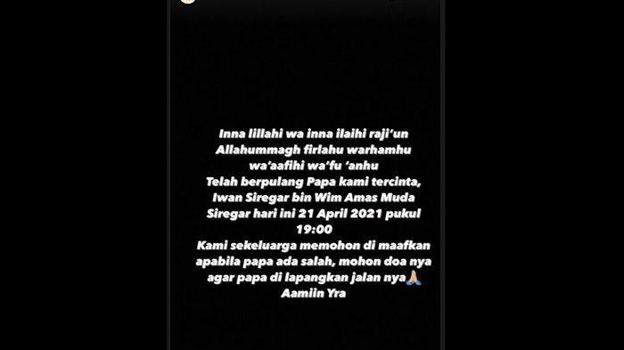 Citra Kirana mengabarkan ayahnya meninggal dunia pada Rabu (21/4/2021).