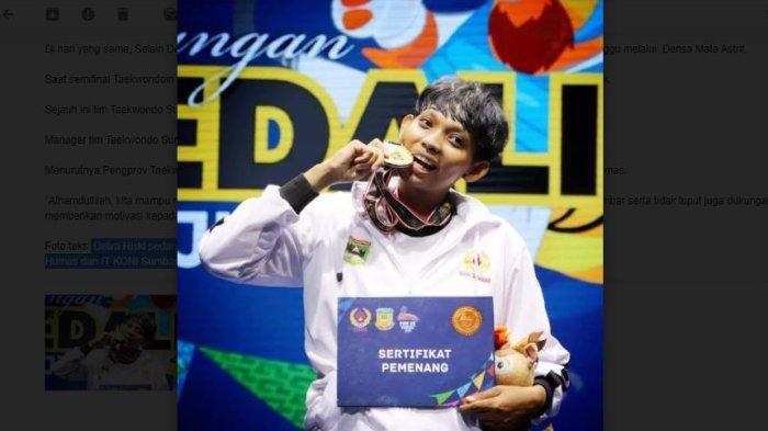 Delva Rizki Sumbang Emas Sumbar dari Cabor Taekwondo di PON Papua 2021, Manager: Target Tercapai