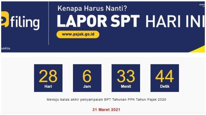 MENIT-menit Tersisa untuk Lapor SPT Tahunan, Ditutup 31 Maret 2021 Pukul 23.59 WIB via Online