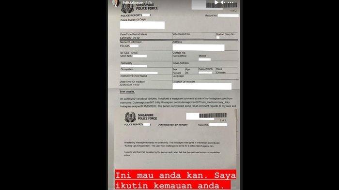 Felicia Tissue melaporkan seorang netizen Indonesia yang melontarkan ujaran kebencian padanya.