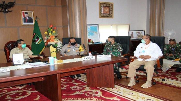 Danrem 032/Wbr Dampingi Gubernur Rakor Pelaksanaan Sholat Idul Fitri dengan Kementerian