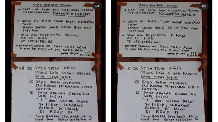 Dokter di Padang Panjang Positif Corona, Orang Tua Tulis Pengumuman di Pintu Rumah: Saya Bangga