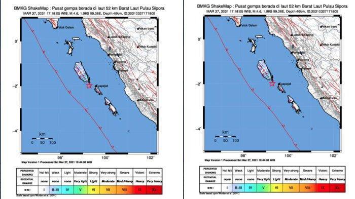 Gempa Bumi 4.6 Magnitudo Guncang Mentawai Sabtu Sore, BMKG: Tidak Berpotensi Tsunami