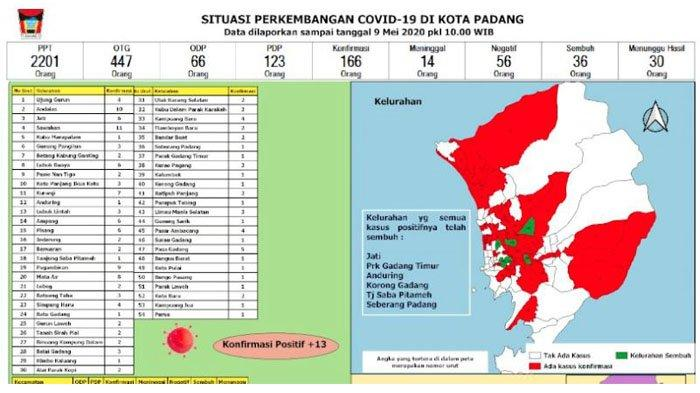 Peta Sebaran 166 Kasus Positif Covid-19 di Padang Ada di 54 Kelurahan, 36 Pasien Dinyatakan Sembuh