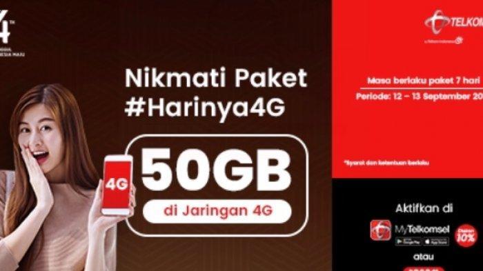 Hanya Hari Ini, #HARINYA4G Telkomsel Paket 50 GB Hanya Rp 45 Ribu