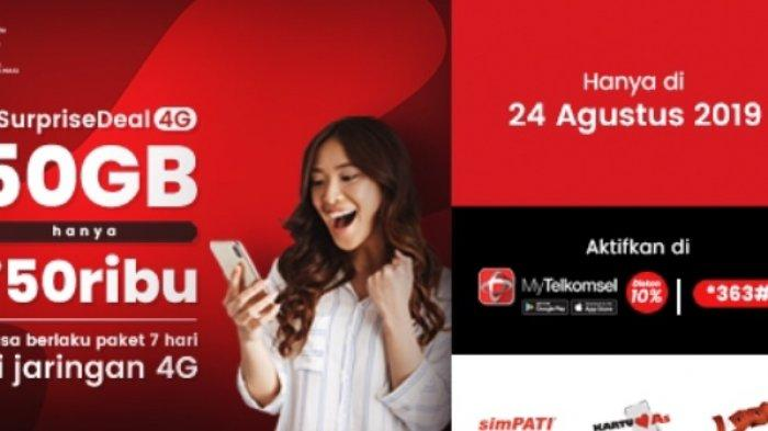 Hanya Hari Ini, #SupriseDeal4G Telkomsel Paket 50 GB Hanya Rp 45 Ribu