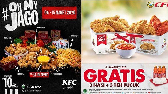 INFO & Kabar Promo Maret 2020, Sejumlah Menu di KFC Hanya Rp 10.000, Potongan 50 Persen di CFC