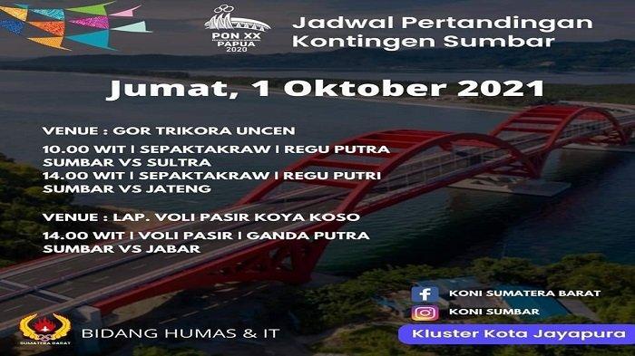 Hari Ini Ada 3 Cabor Sumbar akan Memulai Laga Perdana di PON XX Papua 2021