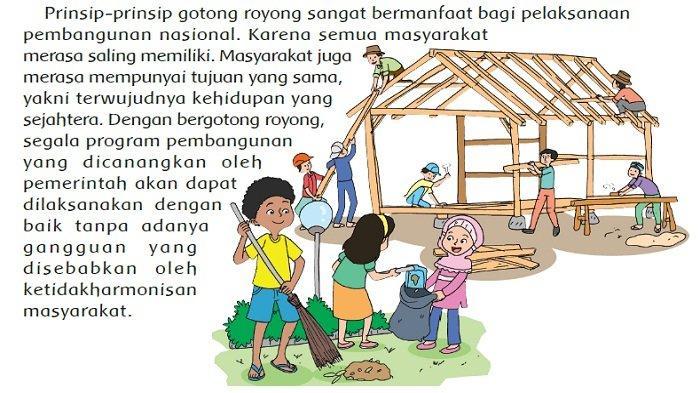 "Jawaban: Ide Pokok Paragraf pada Teks ""Gotong Royong Modal Dasar Pembangunan"", Tema 1 Kelas 5"