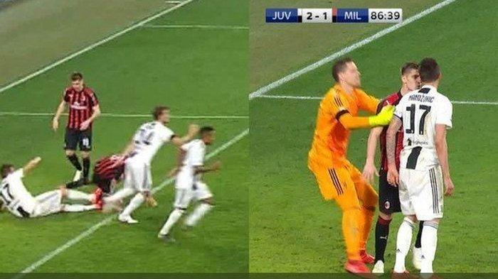 Penyerang Juventus Mario Mandzukic Sah Lolos dari Hukuman, Diduga Tendang Kapten AC Milan