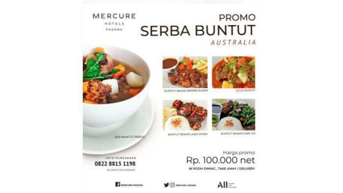 Mercure Hotels Padang kembali menghadirkan promo Food & Bevarage sebagai bentuk dukungan program Accorhotels mengenai cita rasa Nusantara. Tersedia aneka pilihan Sop Buntut dengan harga Rp 100 ribu net.