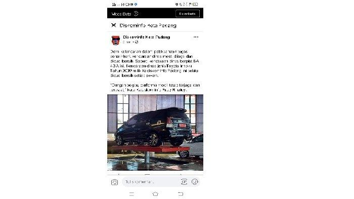 Postingan Foto Mobil Dinas Sedang Dicuci Dibully Netizen, Begini Respon Kadis Kominfo Padang