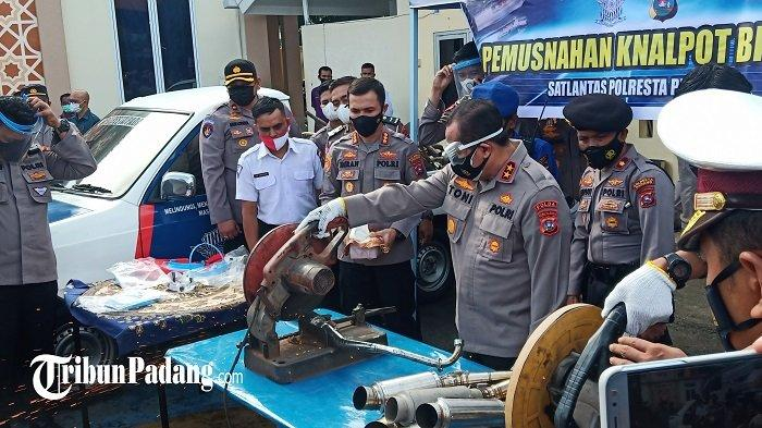 Polisi Potong Knalpot Bising Kategori Ganggu Ketertiban Umum, Hasil Penindakan Polresta Padang
