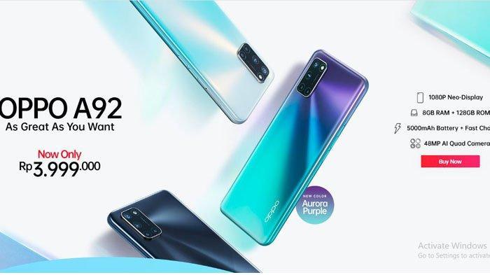 Oppo A92 Aurora Purple Hadir di Indonesia, Dibekali 8GB RAM 128GB ROM dan Baterai 5000mAh