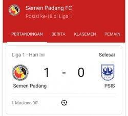 UPDATE BABAK II - Semen Padang FC Raih Kemenangan Perdana Berkat Gol pada Menit Akhir