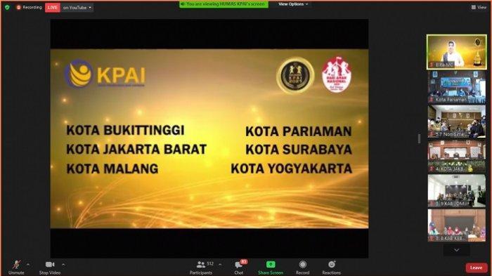 Tangkapan layar pelaksanaan kegiatan Anugerah KPAI 2021, dalam rangka memperingati Hari Anak Nasional (HAN) 2021, Kamis (22/7/2021).