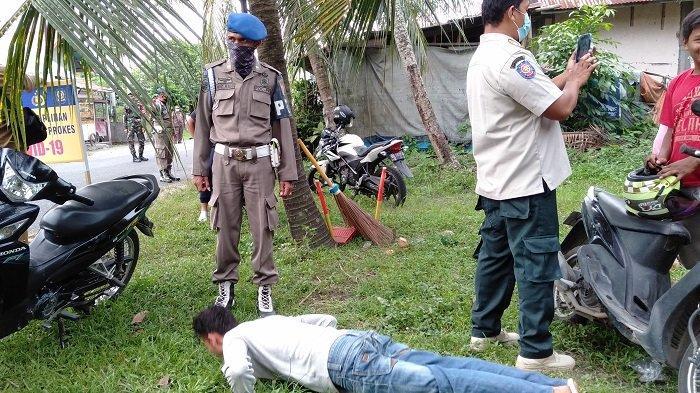 Satgas Covid-19 Kota Pariaman Gelar Razia Masker, Pelanggar Diberi Sanksi Sosial, Disuruh Push Up