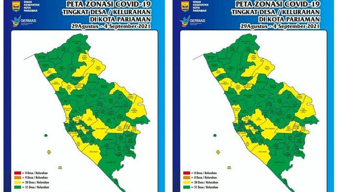 Peta Zonasi Covid-19 di Kota Pariaman, 51 Desa/Kelurahan Zona Hijau dan 20 Zona Kuning