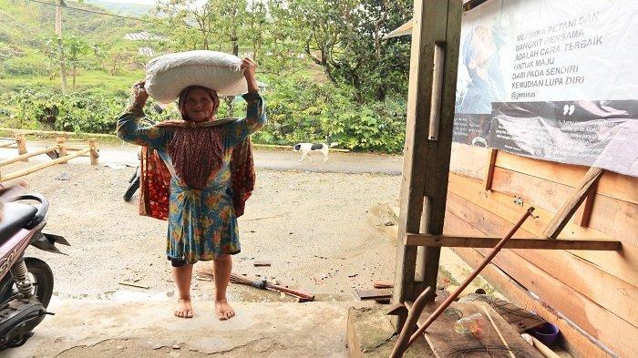 Petani kopi datang membawa hasil panen ceri kopi ke UPH Buk Nur