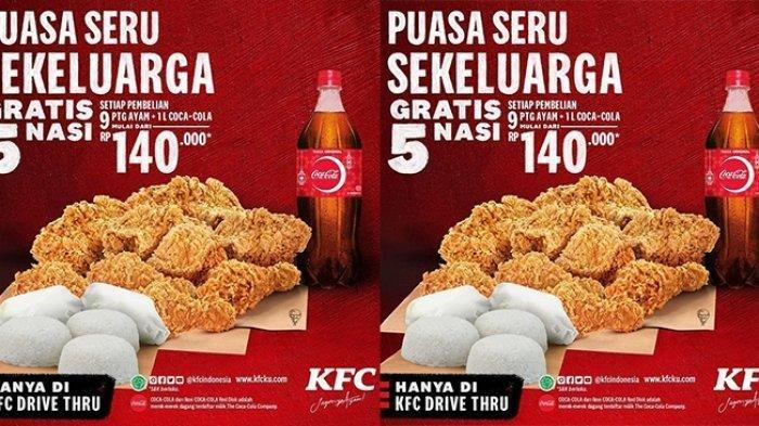 Promo KFC Mei 2021, Mulai Rp 140 Ribu Dapat 9 Potong Ayam dan 1 Liter Coca Cola Gratis 5 Nasi