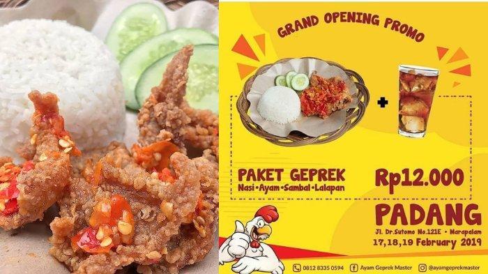 Jangan Lewatkan Promo Ayam Geprek Master Padang, Paket Geprek Plus Es Teh hanya Rp 12 Ribu!