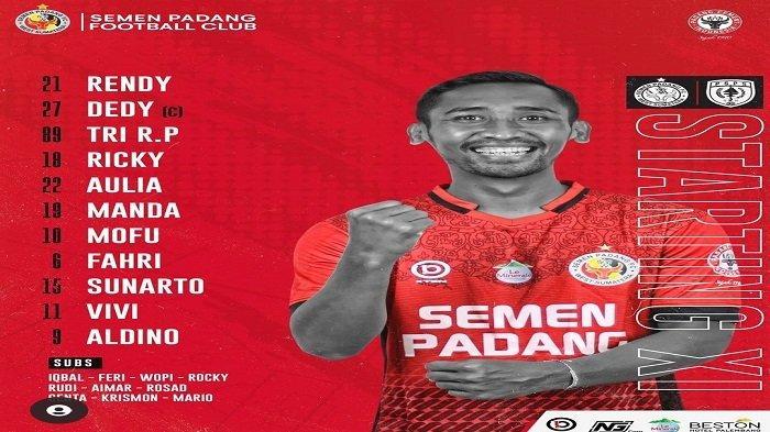 STARTING Semen Padang FC Vs PSPS Riau: Dedi dan Tri Jadi Palang Pintu, Lini Belakang Tim Kabau Sirah