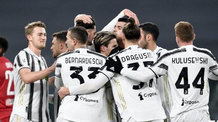Ilustrasi: Selebrasi para pemain Juventus merayakan kelolosan ke babak semifinal Coppa Italia usai menundukkan SPAL 4-0 belum lama ini.