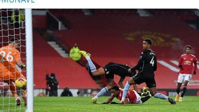 Striker Manchester United, Anthony Martial, mencetak gol sundulan tiarap yang membuat dirinya sejajar dengan empat legenda dan membawa The Red Devils memepet Liverpool.