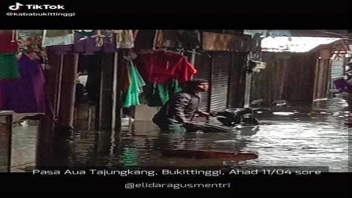 Viral Pasar Aur Tajungkang Bukittinggi Digenangi Banjir, BPBD:Air Surut 1 Jam Setelah Hujan Berhenti
