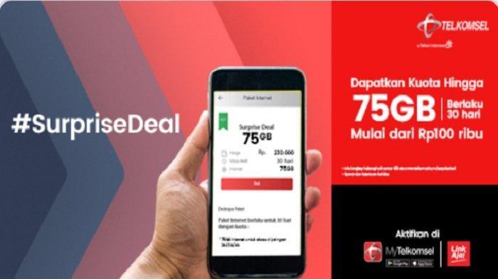 Promo Telkomsel #SurpriseDeal Kuota Hingga 75 GB Harga Mulai Rp 100 Ribu Datang Lagi
