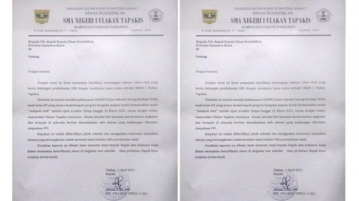KLARIFIKASI Kepala SMA 1 Ulakan Tapakis soal Puluhan Siswanya Deklarasi 'Bebaskan Habib Rizieq'