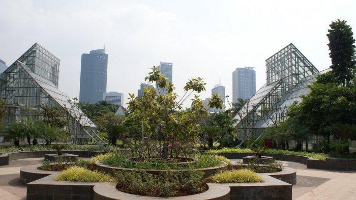 Ilustrasi: Taman yang terdiri dari tumbuhan pelindung, termasuk Pohon Ketapang