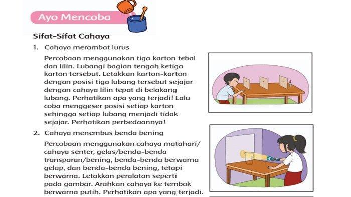 JAWABAN Tema 5 Kelas 4 Halaman 8: Laporan Kegiatan Percobaan Sifat-Sifat Cahaya