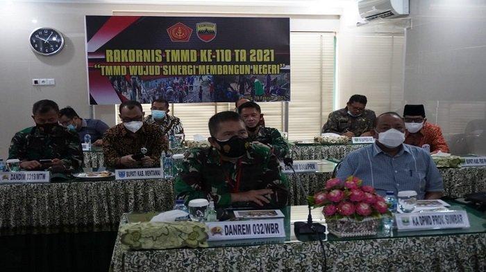 Danrem 032/Wirabraja Ikuti Rakor TMMD ke-110, Ada Bupati, Ketua DPRD dan Dandim 0319/Mentawai